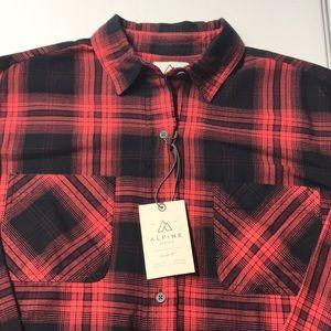 🆕 ALPINE DESIGN Womens Red Black Plaid Shirt